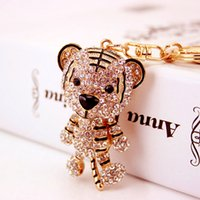 Wholesale Girl Accessories For Cars - Tops Keyrings For Girls Full Diamond Rhinestone Key Rings Tiger Keychain Animal Pendant Key Accessories Free Shipping