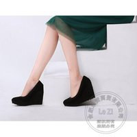 Wholesale High Comfortable Platform Wedding Shoes - Nightclub Nubuck Leather Comfortable Low Cut Uppers New Arrival Pump Suede Round Toe Woman Black Wedge Shoes High Heels Platform