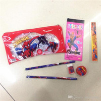 Wholesale Wholesale Plastic Pencil Sharpeners - Frozen Spiderman Hello Kitty Princess Pencils Cases Stationery sets bags for School students Kids Pencil Pouch sharpener eraser