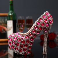 Wholesale Diamond Pearl Wedding Shoes - Fuchsia Diamonds Women Wedding Shoes Rhinestones Beads Lady Bridal High-heeled Evening Party Prom Cocktail Pageant Runaway Red carpet Pumps