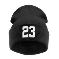 Wholesale Hiphop Skull Cap - New Warm Winter Hats For Women Letters 23 Beanies Soft Knitted Caps Fashion Hiphop Hat free shipping
