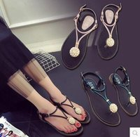 Wholesale Diamonds Sandals Flat Shoes - New type of clip toe sandals in the summer of 2017 female han edition slippers beaded diamond flat peep-toe shoes students the beach