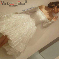 Wholesale Short Evening Dresses Silver - VARBOO_ELSA Off Shoulder Long Sleeve Evening prom Dresses Bling Bling Short Front Long Back High Low silver prom dress white