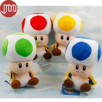 Wholesale Toad Doll - Wholesale-New 1 PCS Super Mario Toad Mushroom with Suction Stuffed Plush Doll Animal Kids Toys Red Blue Yellow Green Approx 7""