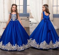 vestido real para niños al por mayor-Vestidos del desfile Glitz Royal Blue Little para vestidos de niñas 2018 Toddler Kids Floor Length Vestido para niña glitz Flower Dress para bodas Apliques MC1626