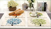 Wholesale tea table mats - Colorful Life Tree Placemat Kitchen Coffee Tea Dinner Decoration Table Mats Cotton Linen Western-style Food Mat
