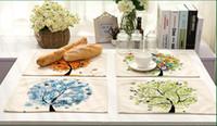ingrosso albero di vita cotone-Tovaglietta colorata Life Kitchen Tazzina da caffè Decorazione per la cena Tovagliette in lino Cotone stile occidentale Stuoia alimentare