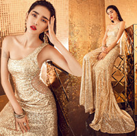 Wholesale Show Bandage Dresses - Sexy Slim Lace Evening Dress Sleeves Mermaid Fashion Dress Dinner Club Nightclub Show Hollow Diamond Gold Sequins Fish Tail Shoulder wed002