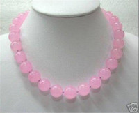 "Wholesale White Chalcedony Beads - 10mm Pink Chalcedony Round Beads Gemstones Necklace 18"" AAA"