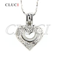 Wholesale locket online - New silver plated Heart with zircon cage pendant mm