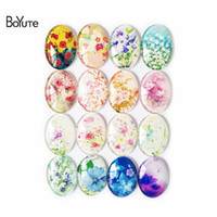 Wholesale Cabochon Images 14mm - BoYuTe 10*14MM 13*18MM 18*25MM 30*40MM Mix Image Flower Cabochon Oval Diy Jewelry Accessories Parts Glass Stone