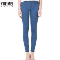 Wholesale Colored Pants For Women - Wholesale- 2017 Woman Jeans plus Size Casual high Waist jeans skinny Denim Pants Black Blue Brand Warm Jeans for women