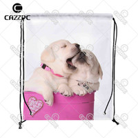 Wholesale Valentine Backpack - Wholesale- Cute Valentine Puppies Dog pet in a Pink Container with a Heart Print Custom Nylon fabric Drawstring Backpack Gift Bag Pack of