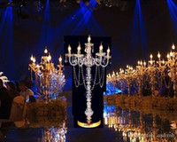 Wholesale Led Acrylic Stands - 100cm Tall candelabra wedding Gold acrylic table centerpiece candlestick wedding road lead stand Party Supply