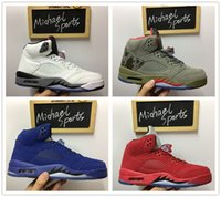 Wholesale Michael Pu - retro 5 red blue suede white cement camo 2017 new colorway basketball shoes men size from Michael Sports