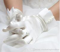 elfenbein kleid handschuhe großhandel-Neue koreanische Art- und Weisehandgelenk-Perlen-Weiß- / Elfenbein-Brauthandschuh-Hochzeits-Handschuh-Kleid-Kurzschluss-Absatz-Handschuhe Schneller Verschiffen-Hochzeits-Zusatz