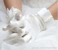 ingrosso abito da sposa in avorio coreano-Nuova moda coreana polso perla bianco / avorio Guanti da sposa Guanti da sposa vestito breve paragrafo Guanti Trasporto veloce accessorio da sposa