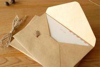 nuevos sobres de invitación de boda al por mayor-Wholesale-50pcs / lot 16 * 11 cm NUEVA Vintage Kraft DIY sobre multifunción / sobres de regalo para la boda de papel Kraft Invitación de la fiesta de boda