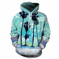 Wholesale Big Beautiful Men - 2017 newest hoodie beautiful sea beach coconut tree 3d print pic fashion hoody big size casual unisex pullover winter wear sweatshirt