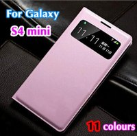 Wholesale luxury phone cases galaxy s4 - Mobile Phone Case for Samsung Galaxy S4 mini i9190 Cute Luxury Flip Leather Case Etui Coque View Window Telephone Mobile AccessoriesMobile P