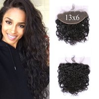 Wholesale Swiss Lace Frontals - 13*6 Swiss Lace Frontal Closure Baby Hair Free Part Brazilian Peruvian Indian Human Hair Water Wave Lace Frontals G-EASY