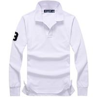 polo de algodão de alta qualidade venda por atacado-Atacado 2017 outono e inverno nova alta qualidade 100% algodão dos homens de moda de manga comprida POLO camisa dos homens casuais POLO camisa de manga longa
