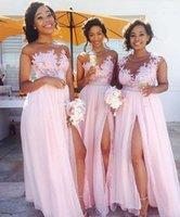 vestidos de damas de honor al por mayor-2017 Blush Pink Lace Appliqued Vestidos de dama de honor gasa de la longitud del piso altas rendijas Maid Of Honor Prom Vestidos Wedding Party Dress BM0146