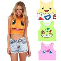 Wholesale 2017 Poke Women Tank Tops Pikachu Charmander Print Crop Top For Lady Female Sleeveless Bare Midriff Tee Vest