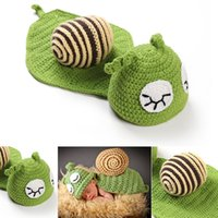 Wholesale Newborn Photography Outfits - Baby Photography Props Cute Snail Set Newborn Boy and Girl Crochet Outfit Infant Coming Home Photo Props kids clothes Accessories