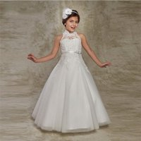 White Puffy Flower Girl Kleider First Communion Kleider für Mädchen Perlen Applique Kinder Abendkleider Hot Sale vestido longo