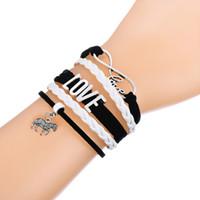 Wholesale Zebra Love - Multi-Layer Woven Bracelet With Zebra & Chameleon Antique Silver Plated Bangle Pendant White and Pink Leather Adjustable Bracelets