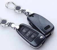 Wholesale Remote Key Audi A3 - Carbon Fiber Car Key Cover For Audi A1 A2 A3 A4 A5 A6 A7 A8 Q5 Q7 R8 S6 S7 S8 SQ5 RS5 flip folding remote accessories