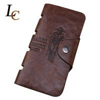 Wholesale Man Wallet Bailini - Hot Promotion! Classic Vintage Male Hasp Hunter Bailini Brand Long Brown Leather Wallet Man Purse Card Holder Clutch for Men