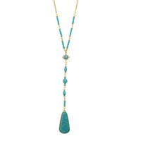 Wholesale Blue Rhinestone Pendant Necklace - New Fashion Boho Jewelry Turquoise Necklace Elegant Long Gold Chain Blue Beads Necklace and Y Style Necklace with Pendants For Women