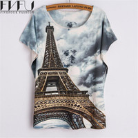 Wholesale eiffel shirt - Wholesale-New Fashion Summer Style T Shirt Women 2016 Cool Eiffel Tower 3d Printed T Shirt O-neck Loose Batwing Sleeve Casual Summer Tops