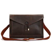 1a4593563f43 High Quality Male Vintage Genuine Leather Messenger Bag Shoulder Cross Body  Handbag Casual Envelope Shape Laptop Computer Briefcase