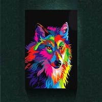 ingrosso belle arti americane-Modernismo Astratto Canvas Art Dazzle Colore Lupo Pittura Stampa su tela Decorazione della parete di arte Animale Poster su tela Immagini per soggiorno