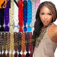 Wholesale Hair Extensions 22 Inch Red - Xpression braiding hair extension synthetic crochet hair braid 82inch 165g black brown purple grey braid for black woman 30 colors avaliable