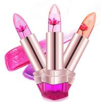 ingrosso flower jelly lipstick-Bellezza Jelly Flower Rossetto Lip Gloss Trasparente Idratante Trucco Antiaderente Scolorimento Rossetto Cosmetici Bellezza Spedizione gratuita da DHL