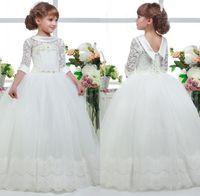 Wholesale hem wedding dress flower resale online - First Communion Dresses for Girls Applique Princess Tulle Lace Hem Ball Gown Kids Graduation Pageant Flower Communion Gown