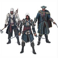 Wholesale Assassins Creed Connor Toy - Assassins Creed 4 Black Flag Connor Haytham Kenway Edward Kenway PVC Action Figure Toys hidden blade Free Shipping
