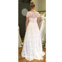 Wholesale Satin Lace Sleeve - 2017 New Arrrival Bridal Dresses V neck Lace Satin Short Sleeve Wedding Dresses Covered Button Sweep Train Sheer Bridal Gowns