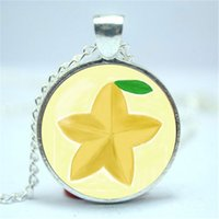 Wholesale Valentines Heart Glass - 10pcs lot Kingdom Hearts Paopu Fruit inspired glass cabochon dome Pendant Necklace, Great Valentine gift for the one you love