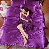 Wholesale pure satin sheets - Wholesale- 100% pure satin silk bedding set,Home Textile King size bed set,bedclothes,duvet cover flat sheet pillowcases 4 Pcs Bed Set