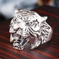 Wholesale Tiger Ring Band - Punk Style Retro zinc alloy ring Red eye Skeleton punk personality Domineering Tiger Head Ring retro men punk ring accessories wholesale