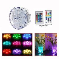 vazolar için temel ışıklar toptan satış-3 Stil * 10 LED Çok Renkli Havuz Light Dalgıç Su Geçirmez Parti Çay Floralte Vazo Tabanı Işık Blub Uzaktan Kumanda Sıcak Led Piscina