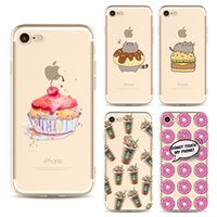 Wholesale Cookie Cover - Cartoon sweet cookie and chocolate cell phone case For iPhone 7 cases Soft TPU painting Back silicone Cover shell for iphone 5S 6S 7 Plus