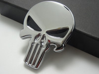 Wholesale Car Metal Skull Decals - 3D Punisher Decal Chrome Car Metal Skull Sticker Car Decals Stickers Silver 10pcs Lot Free shipping