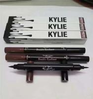 Wholesale Black Brown Ended - Kylie Double-end Waterproof Double Sided Liquid Eyebrow Pen Eyeliner Eye Liner Pencil Makeup Cosmetic Tools Black+Brown