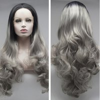 Wholesale Silver Wigs For Women - Factory supply black to silver grey ombre wavy synthetic lace front wigs for women high quality synthetic hair free shipping